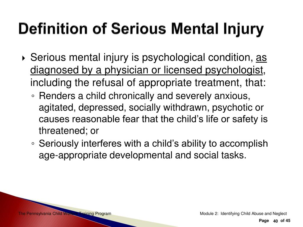Definition of Serious Mental Injury