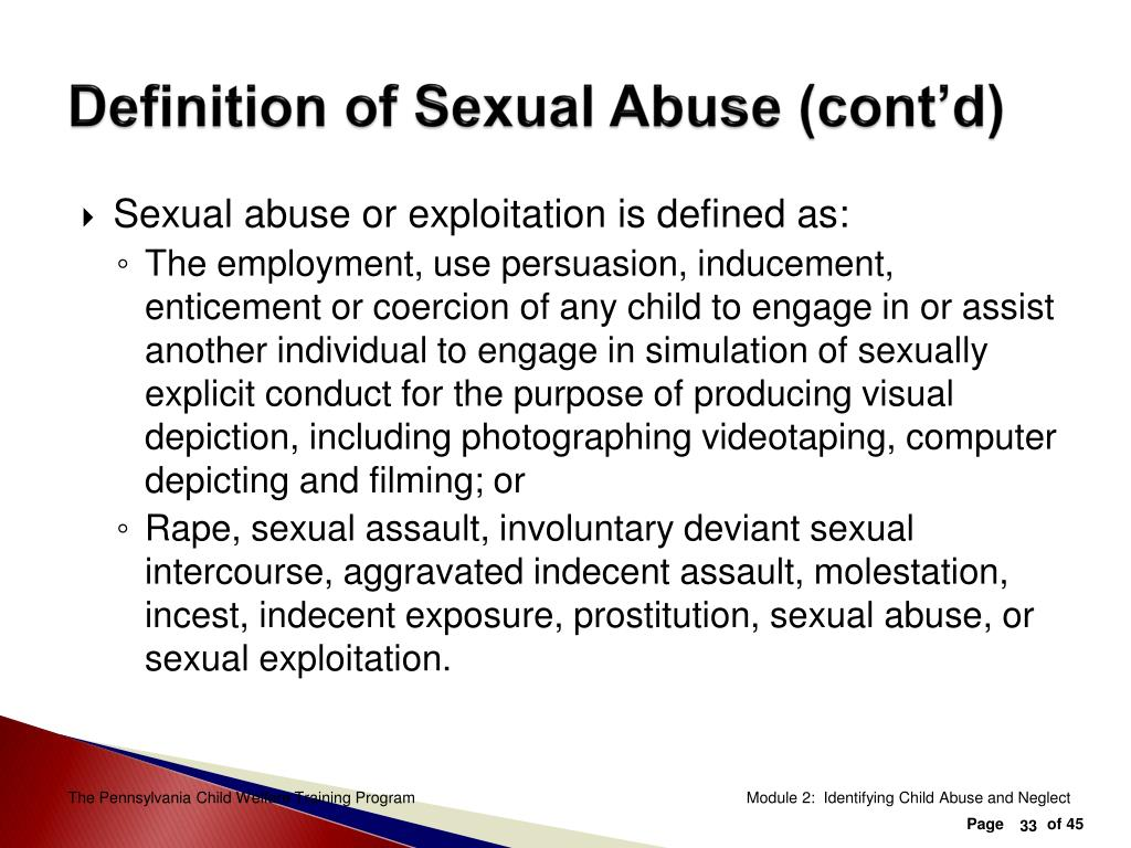 Definition of Sexual Abuse (cont'd)