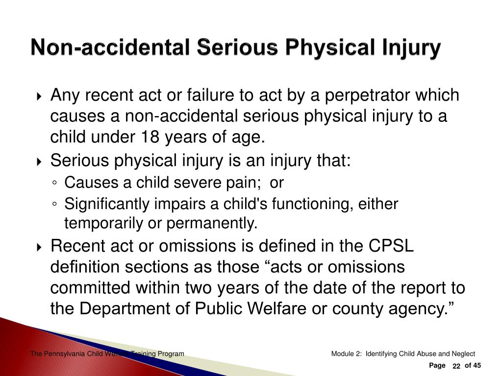 Non-accidental Serious Physical Injury