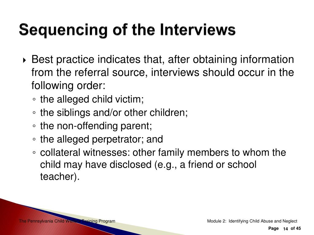 Sequencing of the Interviews