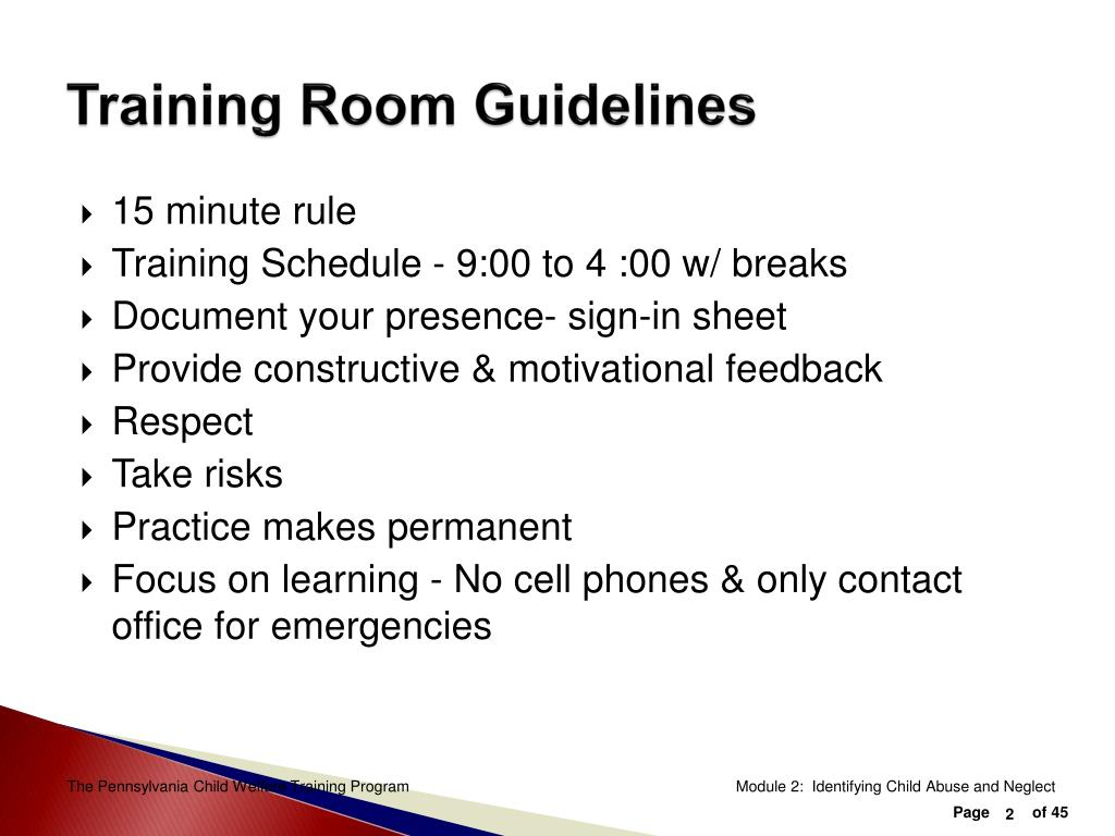 Training Room Guidelines