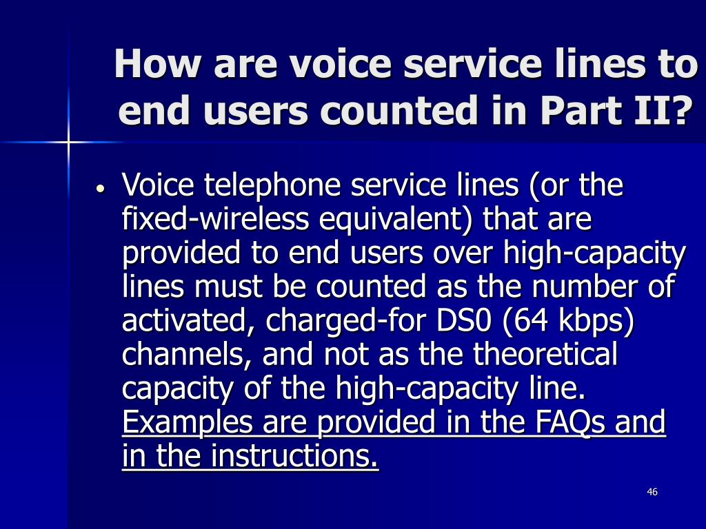 How are voice service lines to end users counted in Part II?