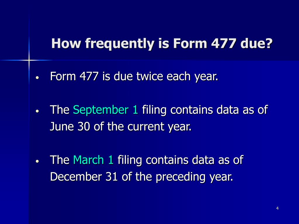 How frequently is Form 477 due?