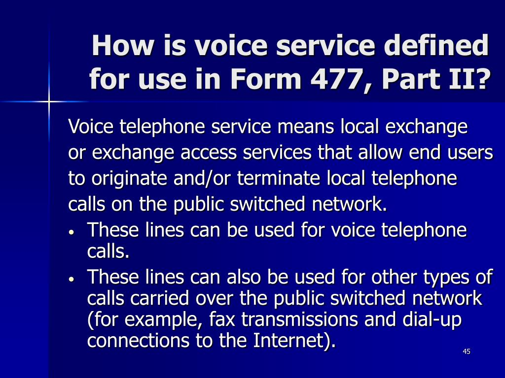How is voice service defined for use in Form 477, Part II?