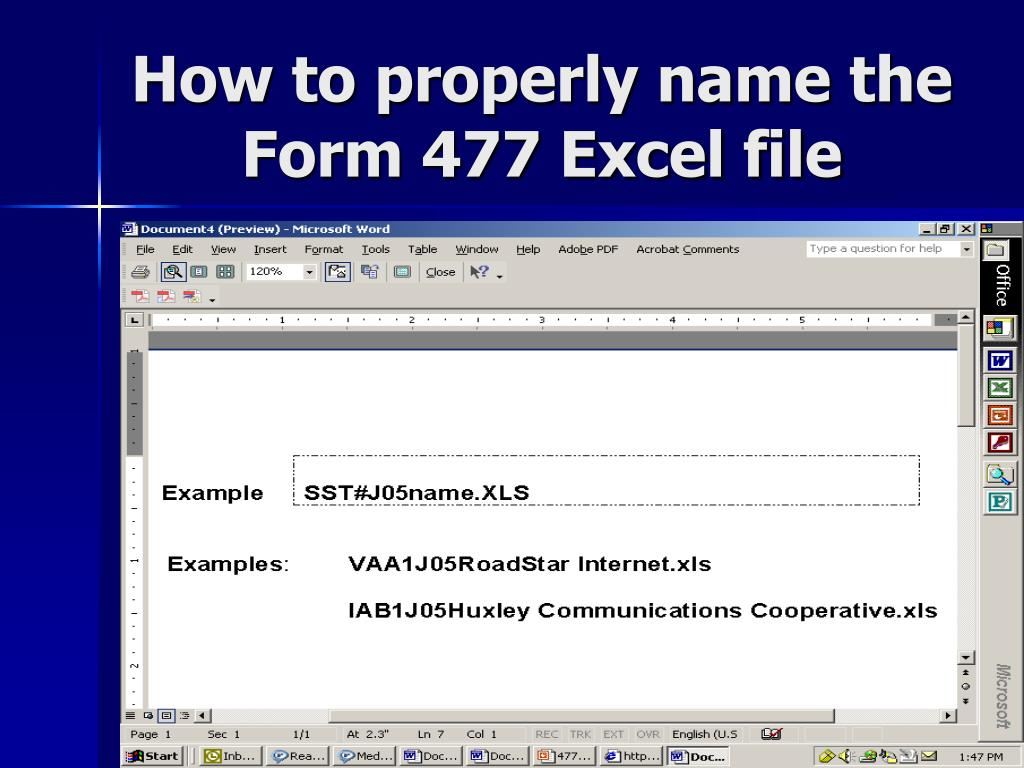 How to properly name the Form 477 Excel file