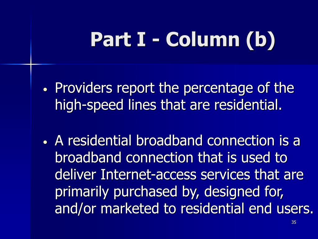 Part I - Column (b)