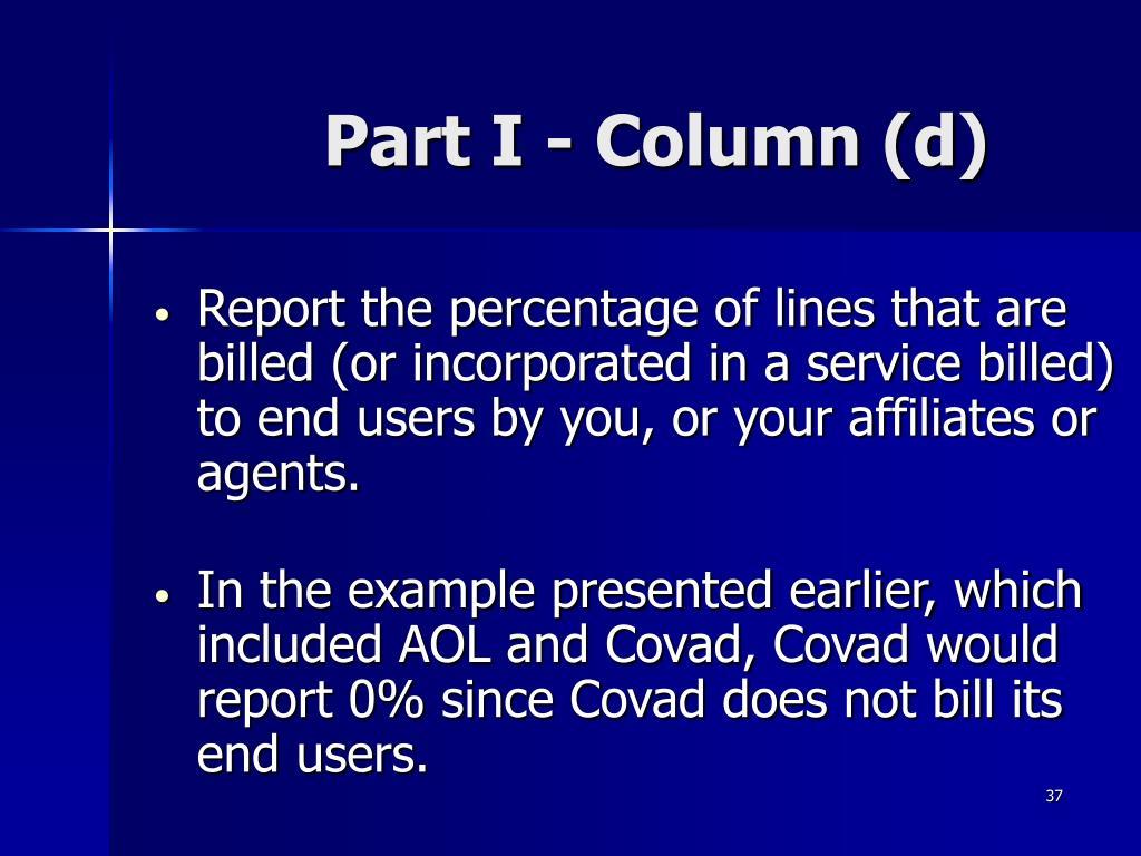 Part I - Column (d)