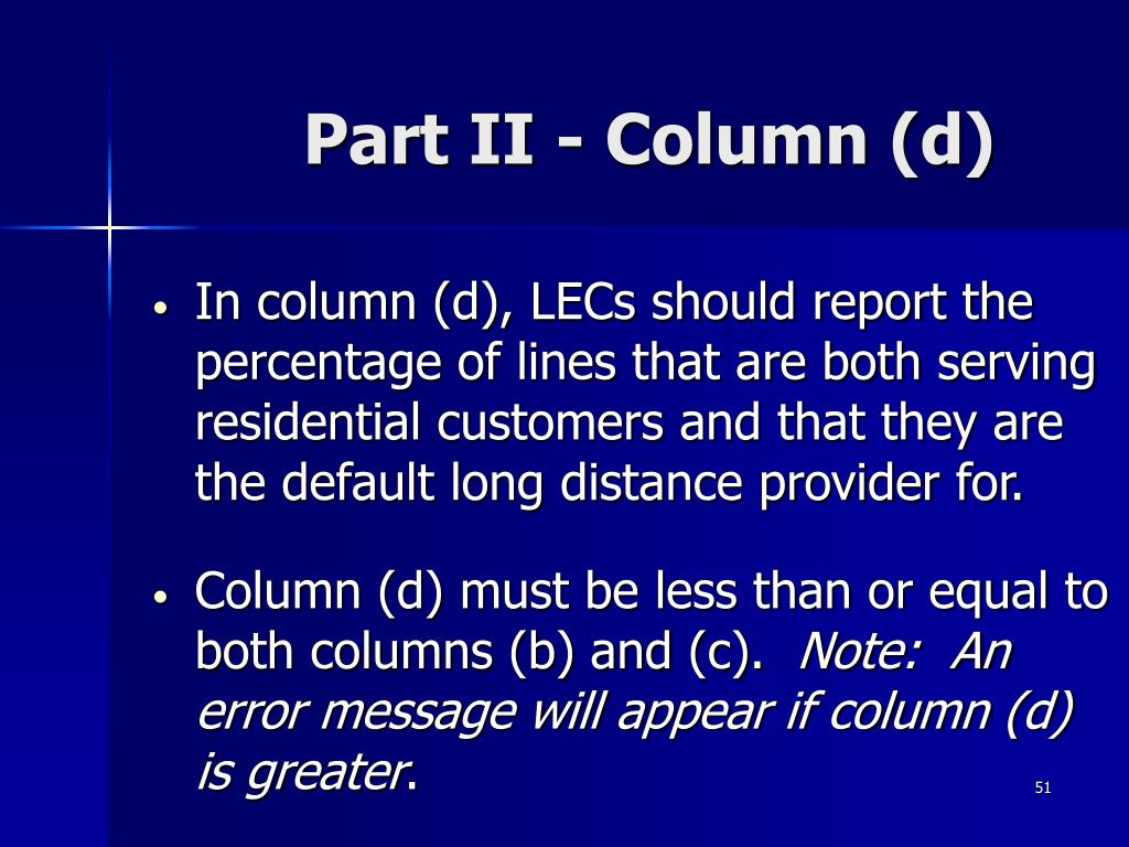 Part II - Column (d)