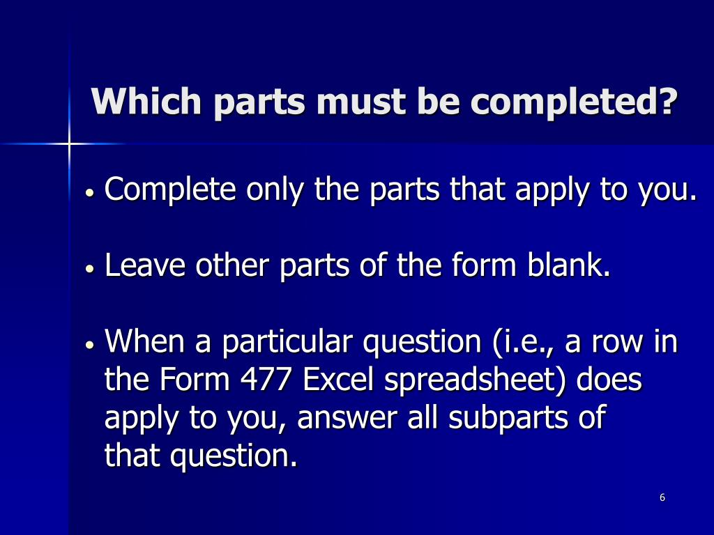 Which parts must be completed?