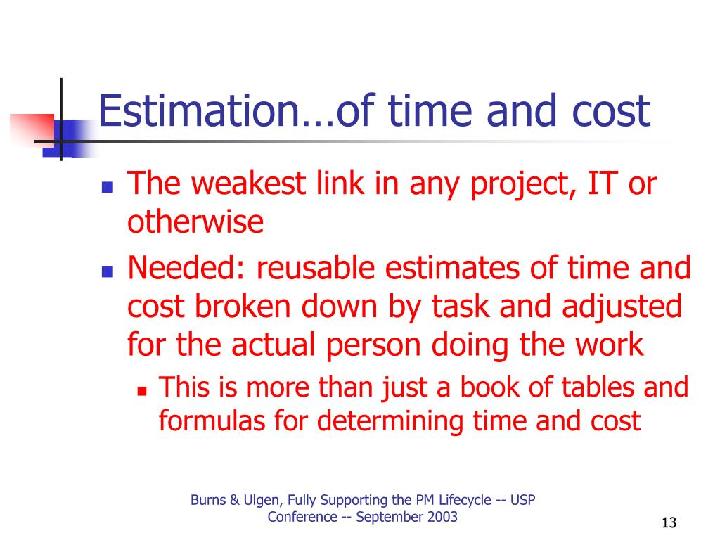 Estimation…of time and cost