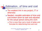 estimation of time and cost