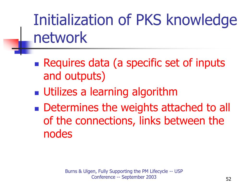 Initialization of PKS knowledge network