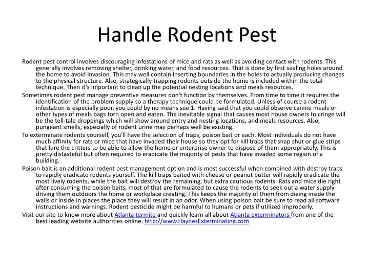 Handle rodent pest