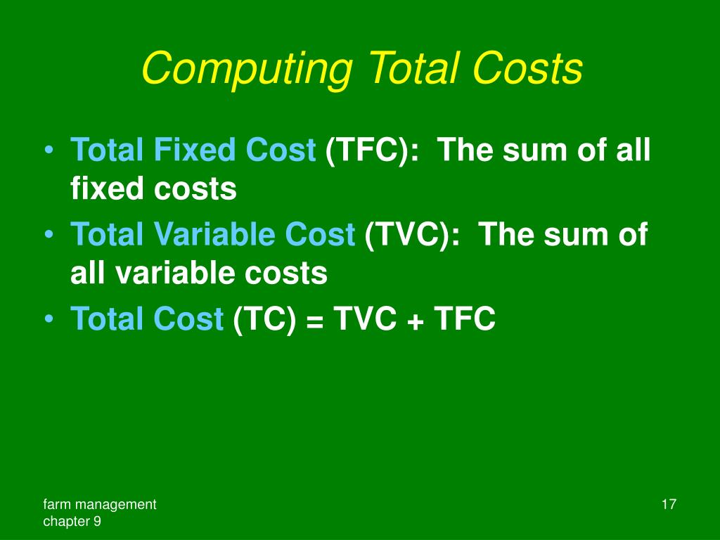 Computing Total Costs