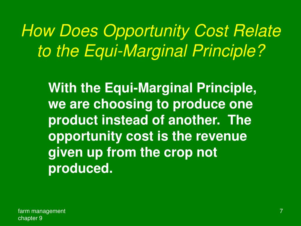How Does Opportunity Cost Relate to the Equi-Marginal Principle?