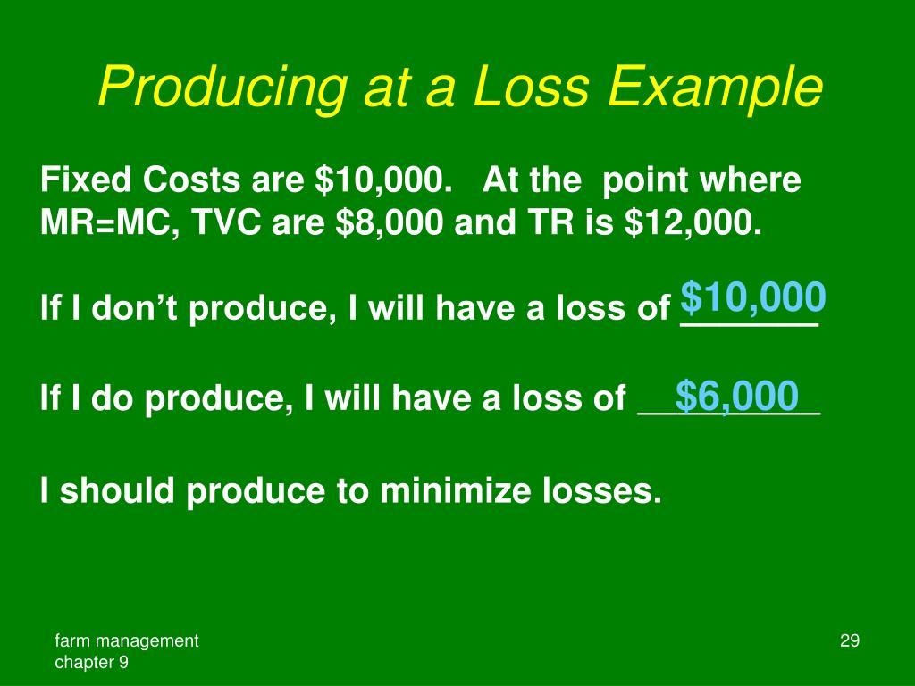 Producing at a Loss Example