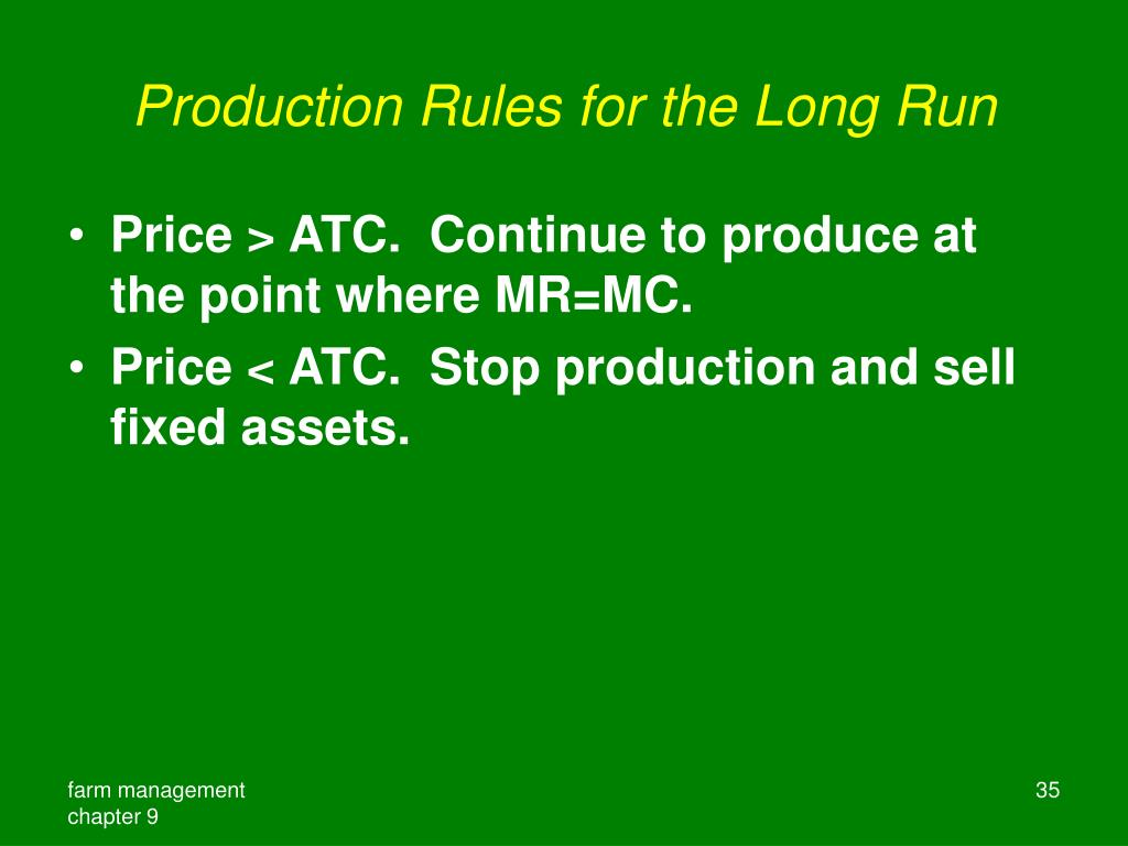 Production Rules for the Long Run
