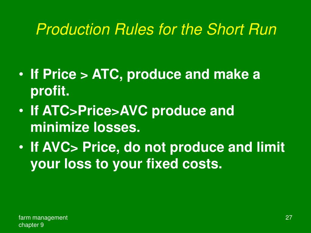 Production Rules for the Short Run