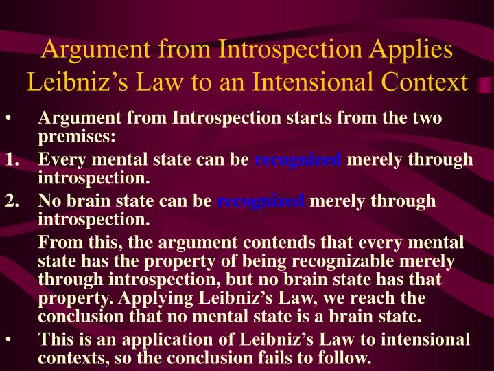 Argument from Introspection Applies Leibniz's Law to an Intensional Context