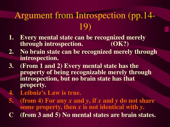 Argument from Introspection (pp.14-19)