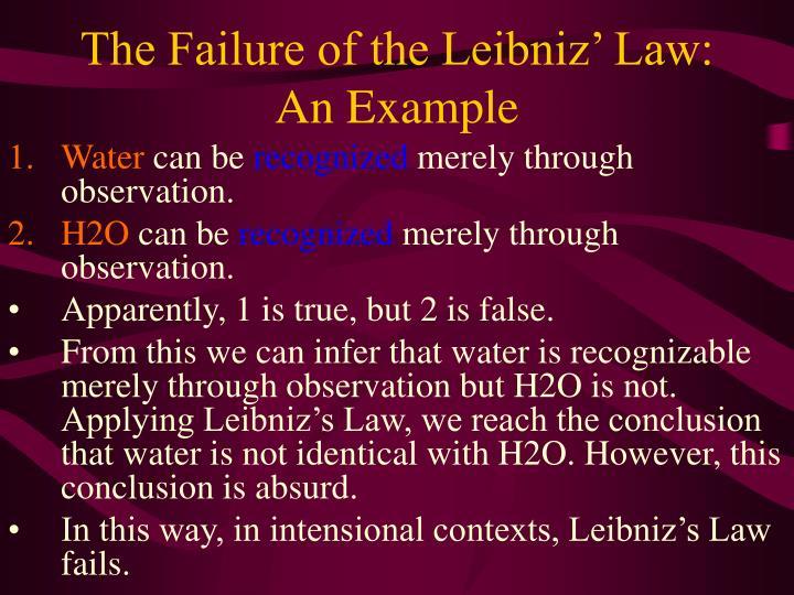 The Failure of the Leibniz' Law: An Example