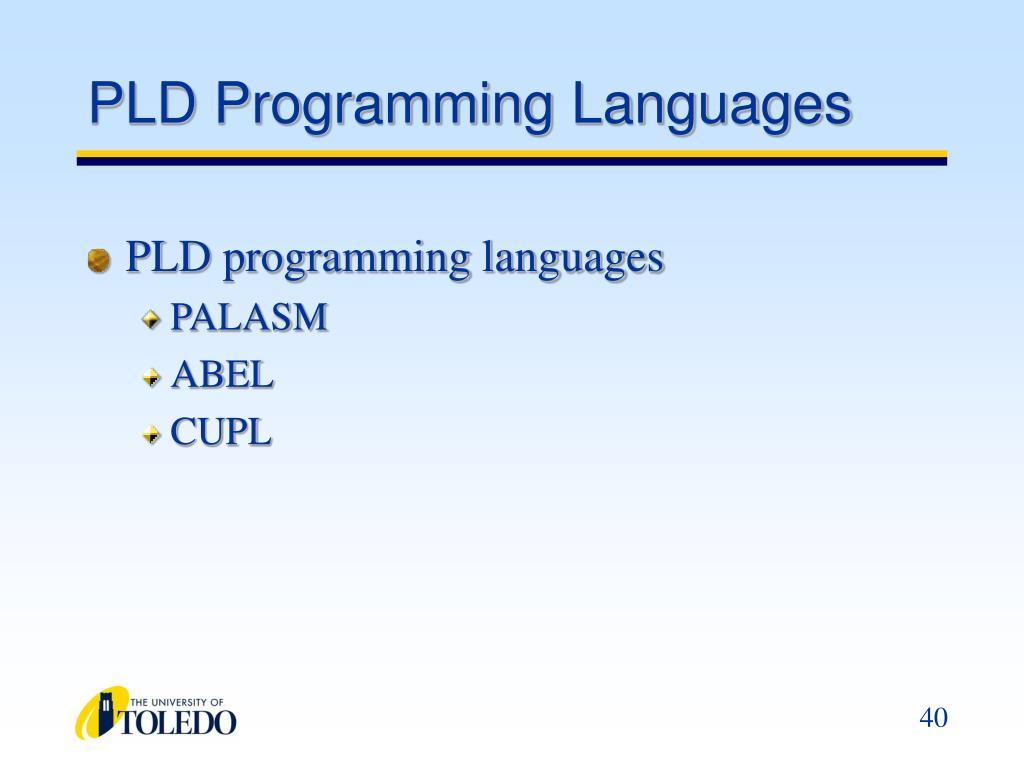 PLD Programming Languages