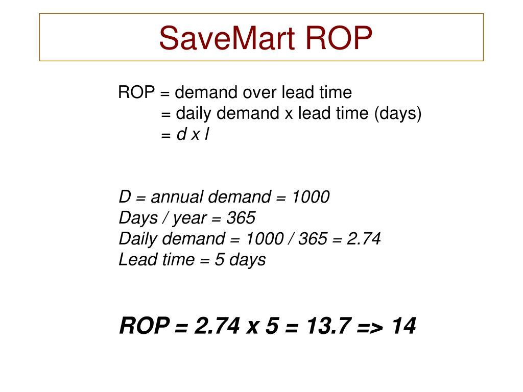 SaveMart ROP