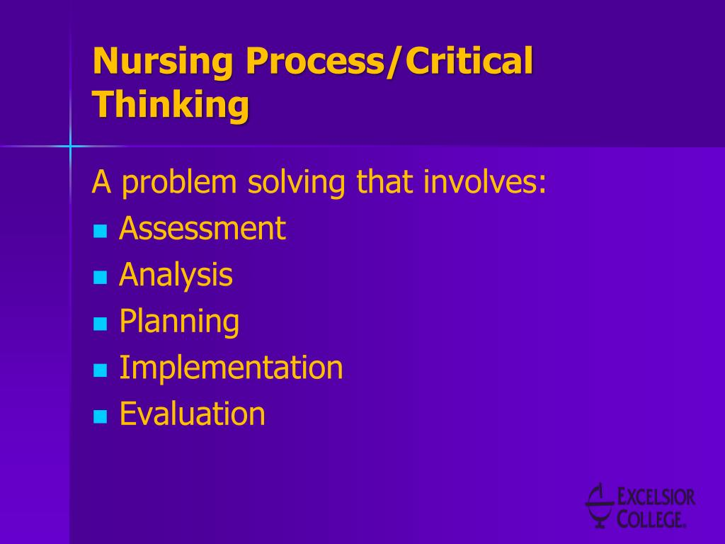 critical thinking nurses process Foundations of nursing by christensen and kockrow, page 121-137.