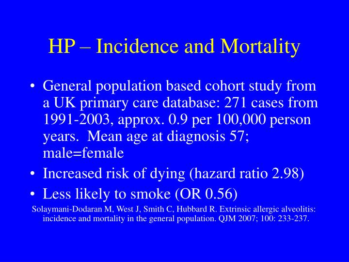 Hp incidence and mortality