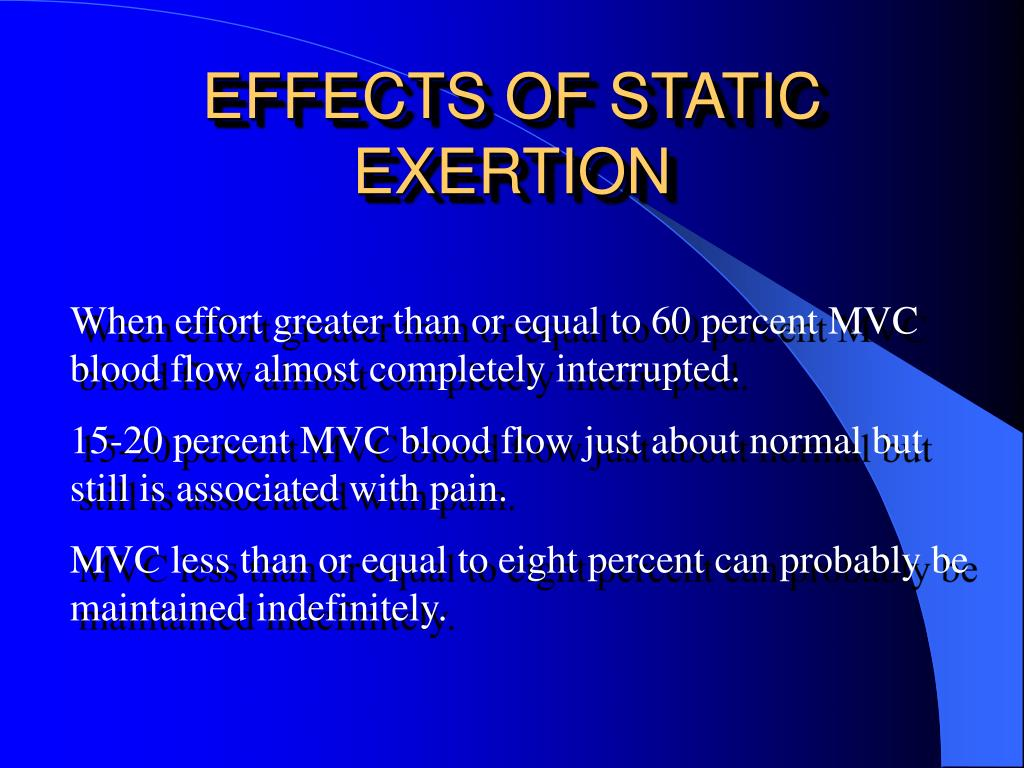 EFFECTS OF STATIC EXERTION