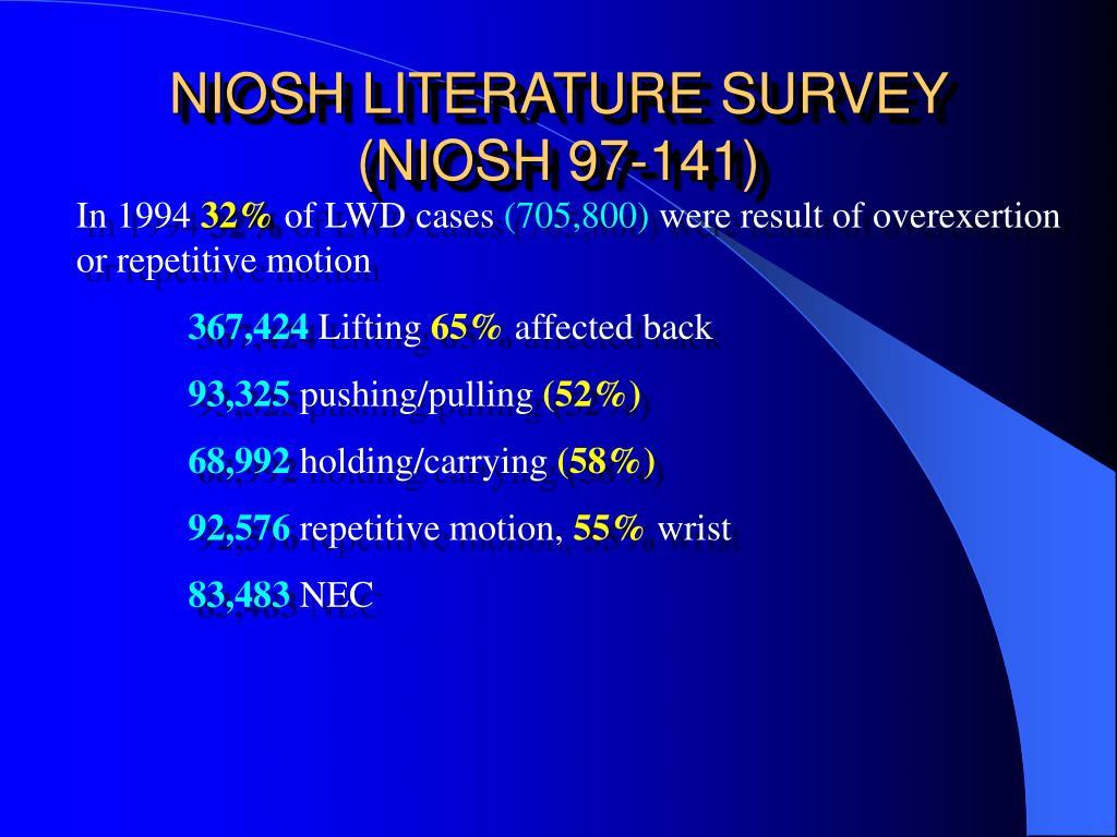NIOSH LITERATURE SURVEY (NIOSH 97-141)