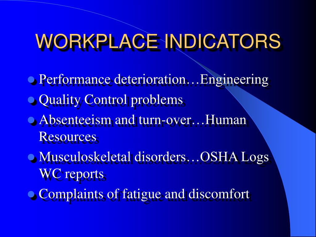 WORKPLACE INDICATORS