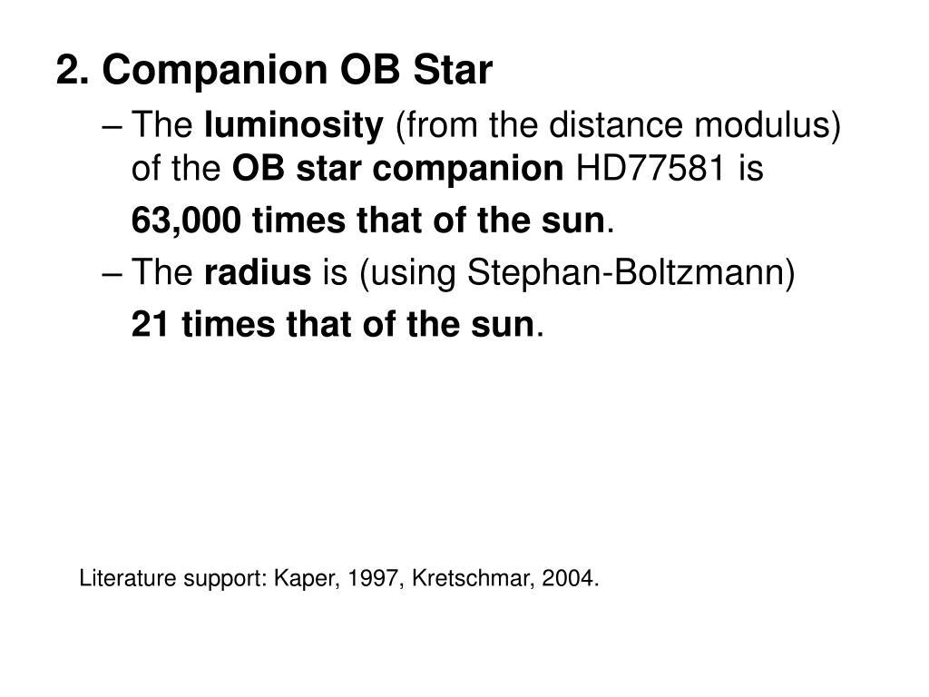 2. Companion OB Star
