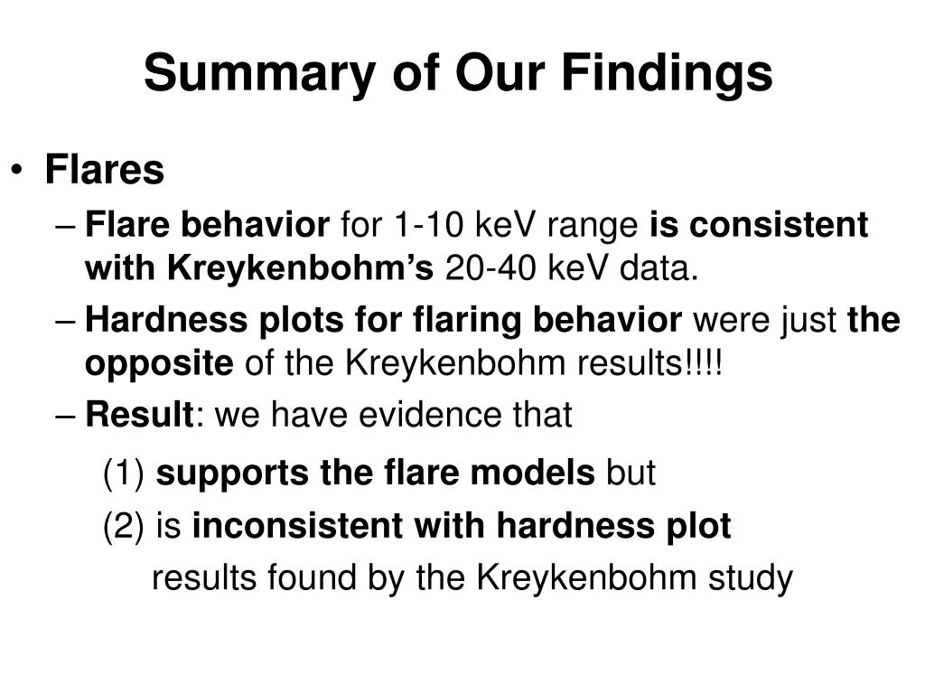 Summary of Our Findings