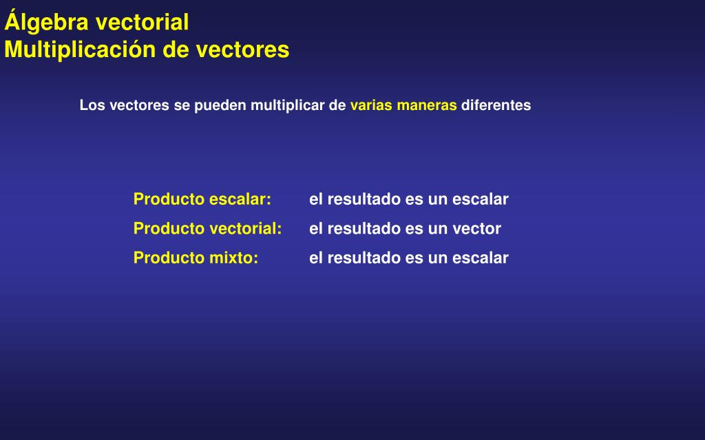 Álgebra vectorial        Multiplicación de vectores