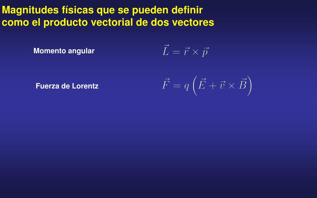 Magnitudes físicas que se pueden definir como el producto vectorial de dos vectores