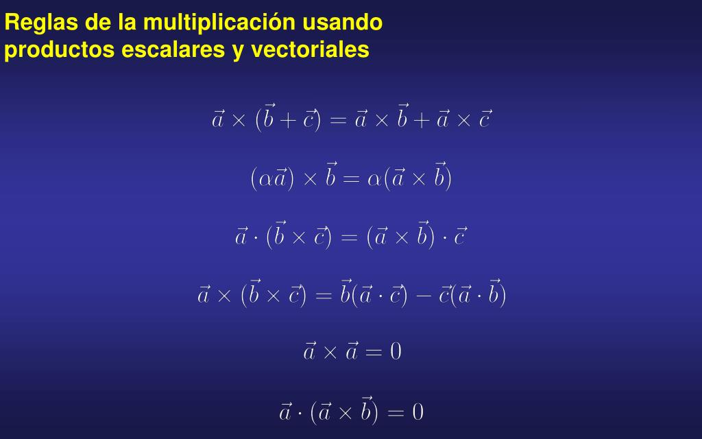 Reglas de la multiplicación usando productos escalares y vectoriales