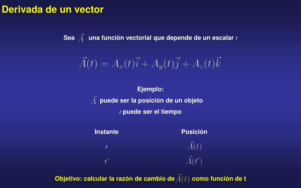 Sea        una función vectorial que depende de un escalar