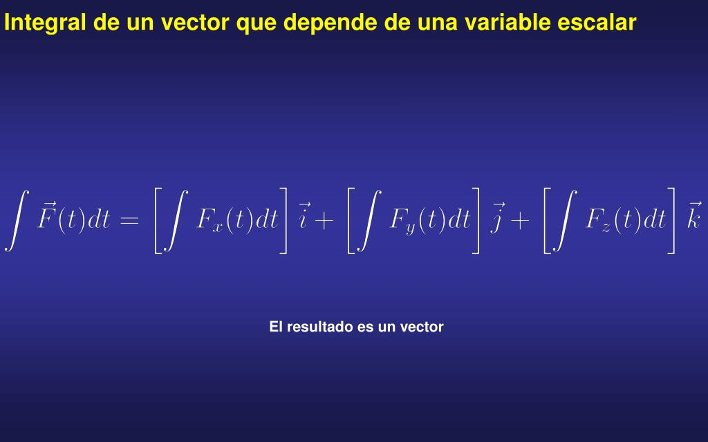Integral de un vector que depende de una variable escalar
