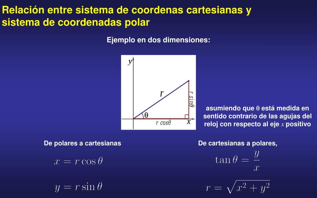 Relación entre sistema de coordenas cartesianas y sistema de coordenadas polar