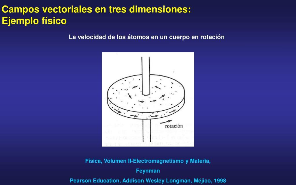 Campos vectoriales en tres dimensiones: Ejemplo físico