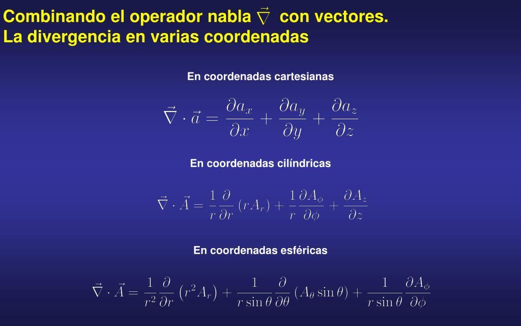 Combinando el operador nabla      con vectores. La divergencia en varias coordenadas
