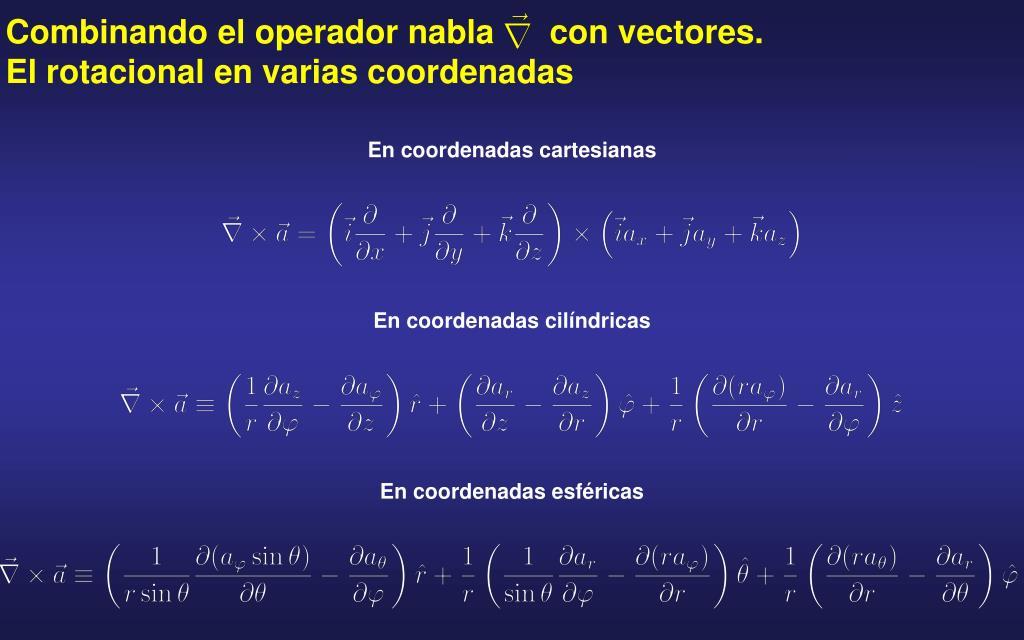 Combinando el operador nabla      con vectores. El rotacional en varias coordenadas
