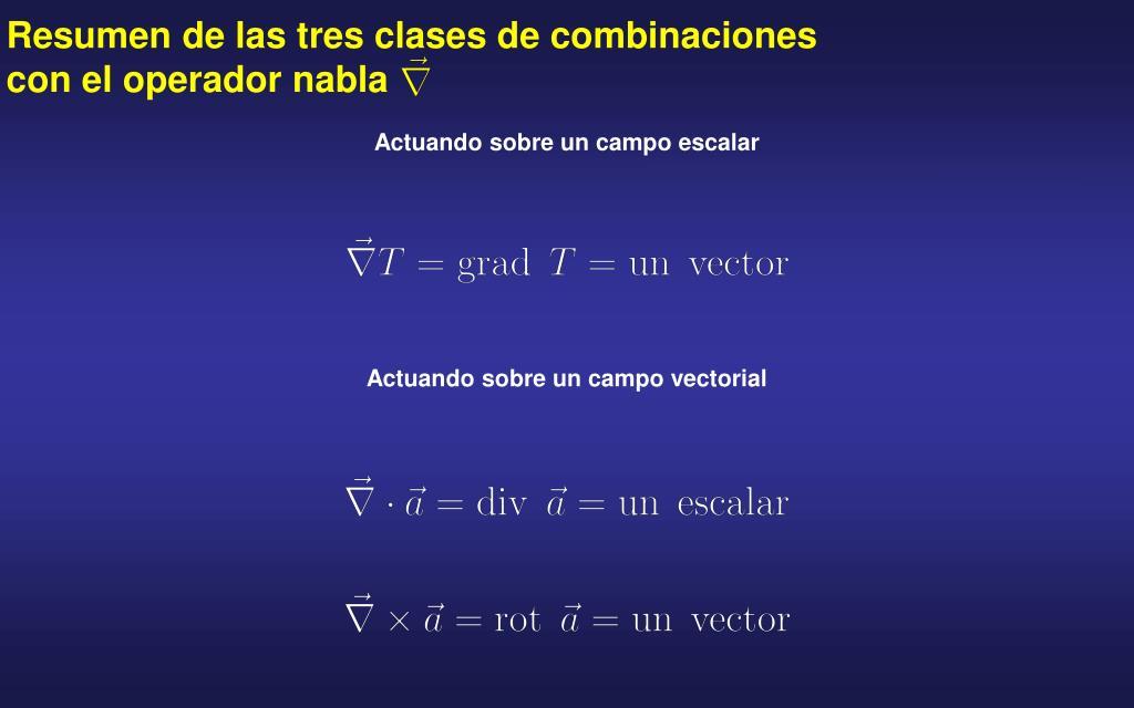 Resumen de las tres clases de combinaciones con el operador nabla