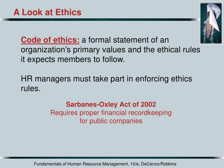 A Look at Ethics