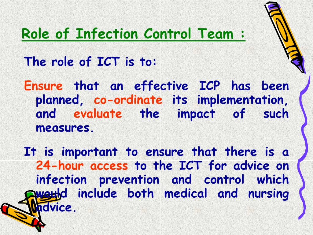 Role of Infection Control Team :