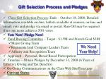 gift selection process and pledges