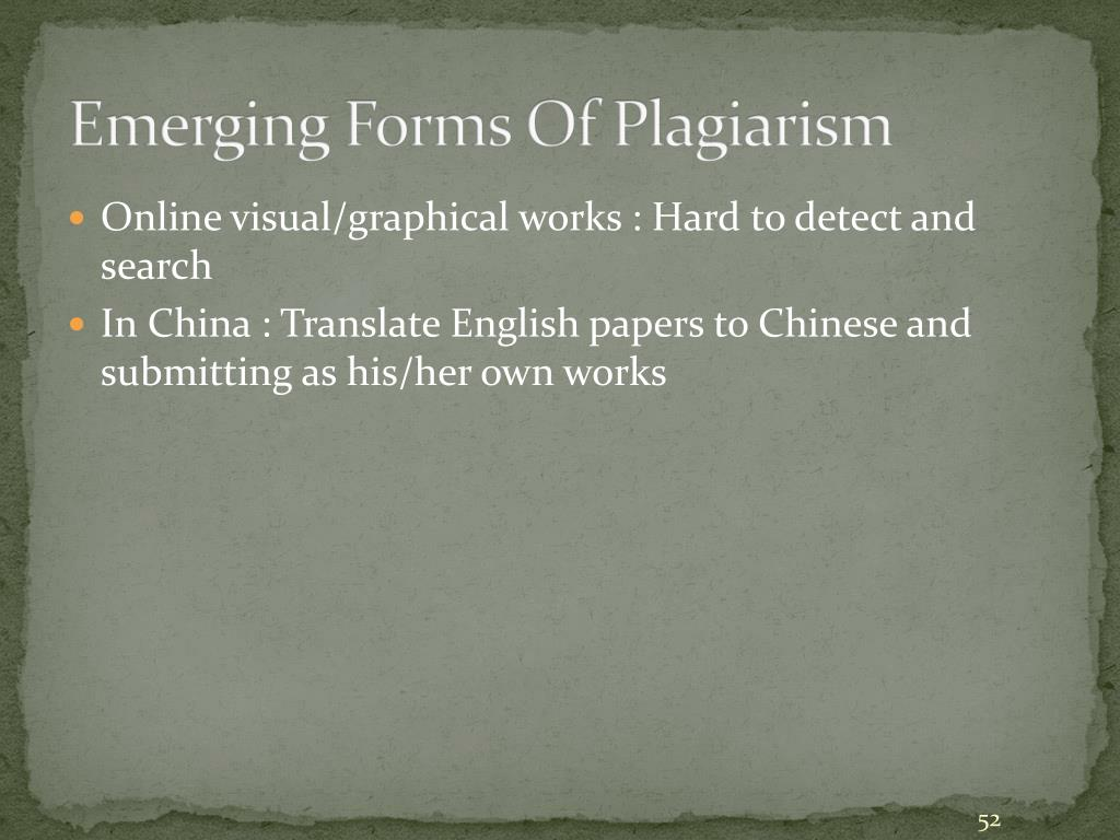 Emerging Forms Of Plagiarism