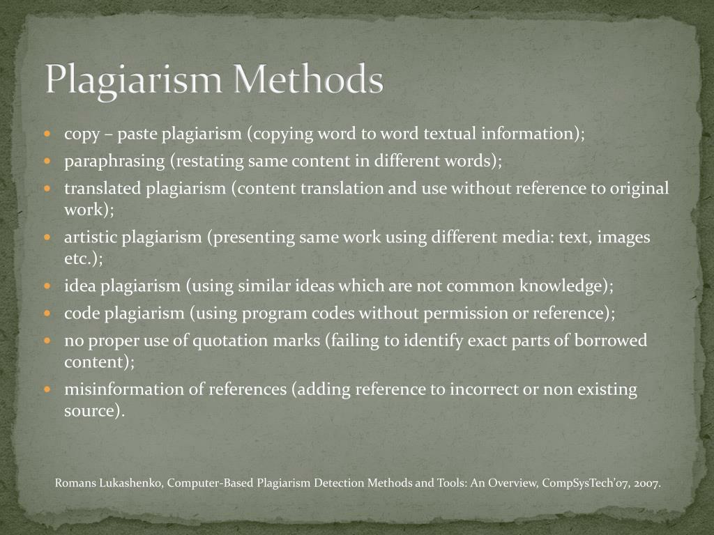 Plagiarism Methods