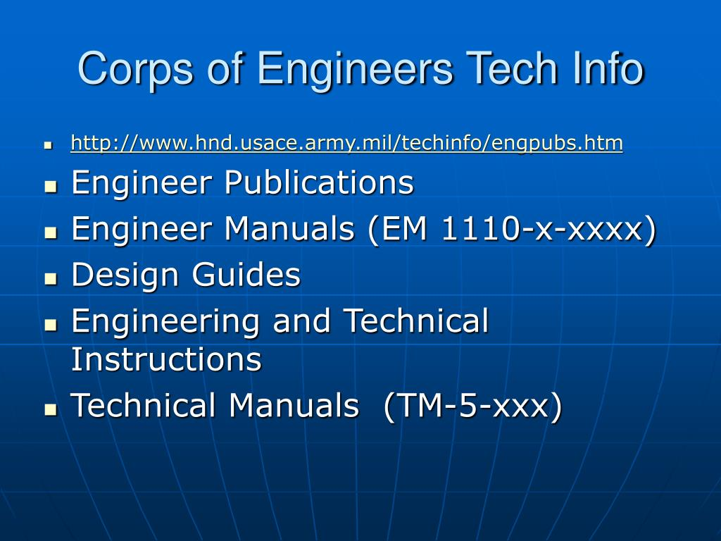 Corps of Engineers Tech Info